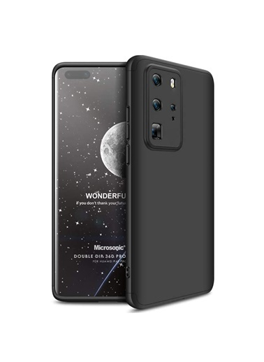 Microsonic Huawei P40 Pro Kılıf Double Dip 360 Protective Siyah